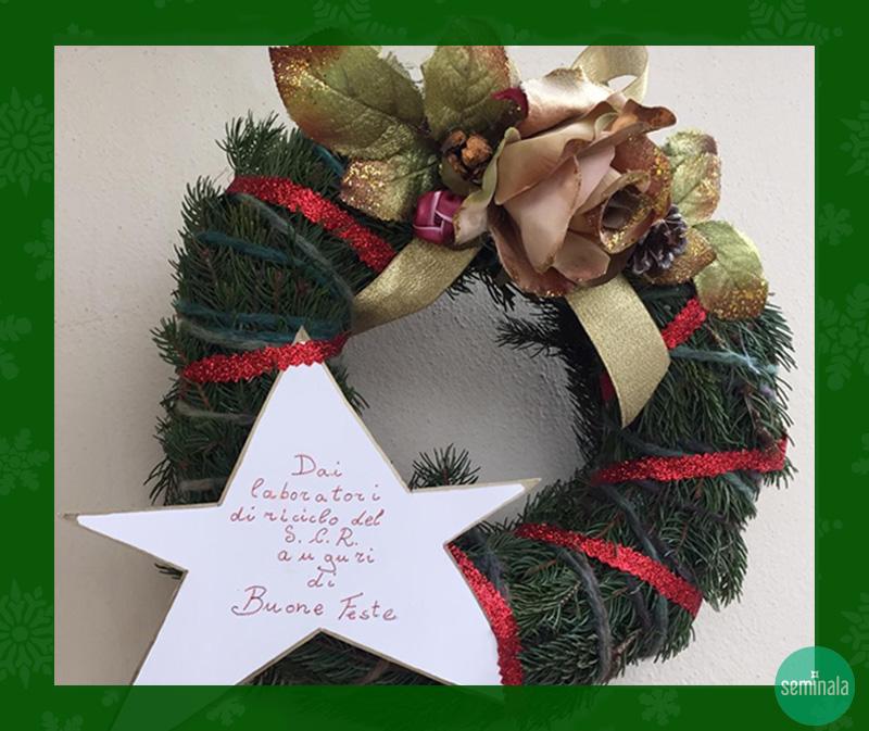 Corona natalizia, laboratorio di riciclo, Seminala